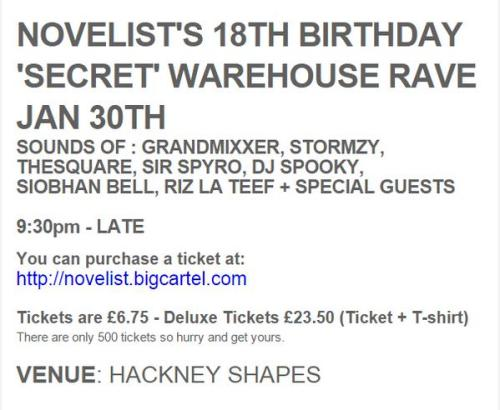 novelist 18th birthday shapes ldn 30 jan